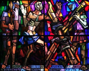 Stained glass window in the Scots College depicting the martyrdom of Saint Andrew