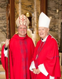 Bishop John Keenan pictured with Bishop Emeritus, John Mone in March 2014. Photo courtesy of Paul McSherry